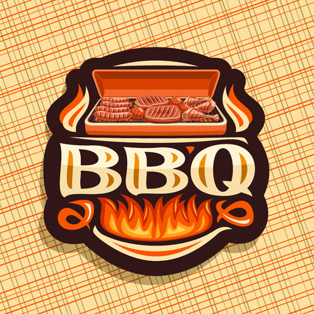 Vector for BBQ, dark decorative icon with roasted frankfurters, fresh tomatoes, juicy beefsteak and chicken legs, original typeface for word bbq, signboard for restaurant of american cuisine.