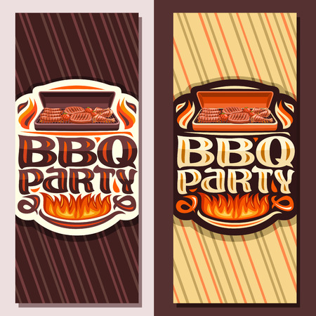 Vector banners for BBQ Party, invite tickets with roasted frankfurters, fresh tomatoes, juicy beefsteak and chicken legs, lettering for words bbq party, leaflets for restaurant of american cuisine. Illustration