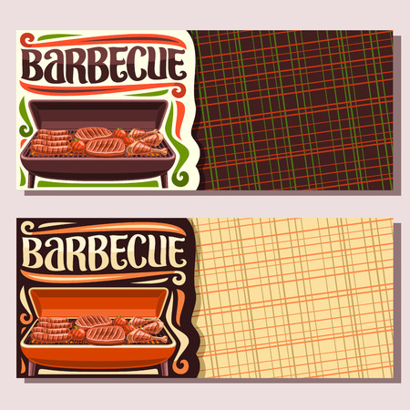 Vector banners for Barbecue with copy space, invite tickets with frankfurters, fresh tomatoes, juicy beefsteak, chicken legs, lettering for word barbecue, leaflets for restaurant of american cuisine.