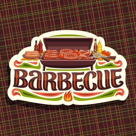 Vector for Barbecue, etichetta vintage bianca con wurstel arrosto, pomodori freschi, succosa bistecca e cosce di pollo, carattere originale per parola barbecue, badge per ristorante di cucina americana