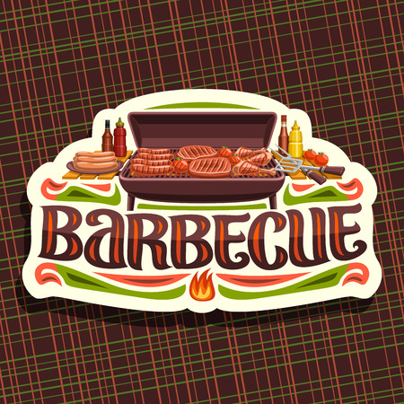 Vector for Barbecue, white vintage label with roasted frankfurters, fresh tomatoes, juicy beefsteak and chicken legs, original typeface for word barbecue, badge for restaurant of american cuisine