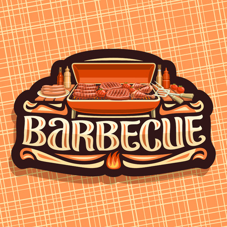 Vector for Barbecue, dark vintage label with roasted frankfurters, fresh tomatoes, juicy beefsteak and chicken legs, original lettering for word barbecue, badge for restaurant of american cuisine