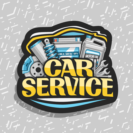 Vector for Car Service, black decorative sticker with set of different auto parts for variety mechanic car system, lettering for words car service, label with illustration for automotive industry