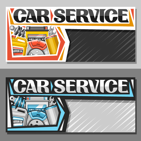 Vector banners for Car Service with copy space, leaflets with set of different auto parts for various mechanic car system, original lettering for words car service, brochure for automotive industry.