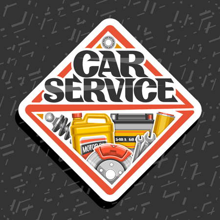 Vector for Car Service, white sticker with set of different auto parts for variety car system, lettering for words car service, label of rhomb shape with illustration for automotive industry.