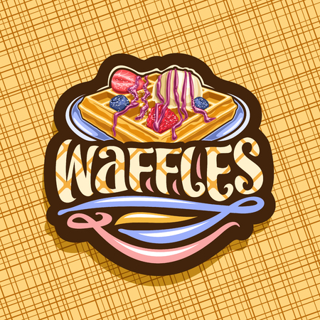 Vector for Belgian Waffles, dark decorative sticker with traditional square pancake, fresh berries and ice cream, original typeface for word waffles, signboard with illustration for belgium cafe.