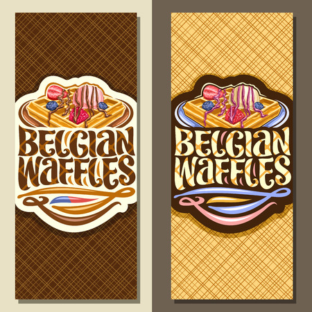 Vector banners for Belgian Waffles, leaflets with traditional square cakes, fresh berries and ice cream, original lettering for words belgian waffles, brochure with illustration for belgium cafe. 일러스트