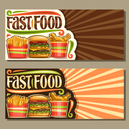 Vector banners for Fast Food with copy space, templates with set of french fries in cardboard box, fresh cheeseburger with fried cutlet & salad, layouts with original typeface for words fast food.