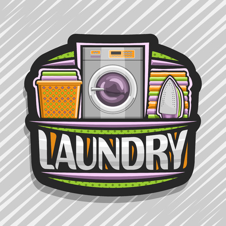 Vector for Laundry, black signboard with automatic washing machine, orange basket with linens, electric iron and stack of towels, original brush typeface for word laundry on abstract background.