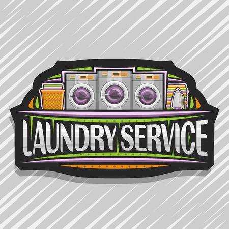 Vektor für Wäscheservice, schwarzes dekoratives Etikett mit 3 automatischen Waschsalons in Folge, orangefarbener Korb mit Bettwäsche, Bügeleisen und Handtuchstapel, Originalschrift für Wörterwäscheservice.