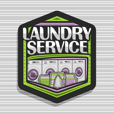 Vector for Laundry Service, black hexagonal tag with 4 automatic laundromats in a row, green basket with linens, electric iron and stack of towels, original typeface for words laundry service. Vektorgrafik