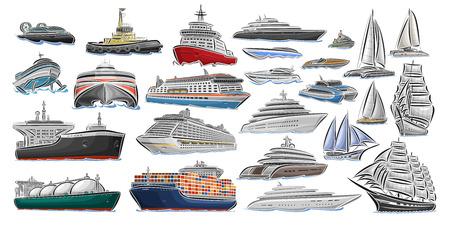 Insieme di vettore di diverse navi e barche, raccolta di icone di trasporto dell'acqua isolate, illustrazione di design ritagliata di rompighiaccio polare, hover craft, jet ski, cisterna super carburante, rimorchiatore, mega yacht.