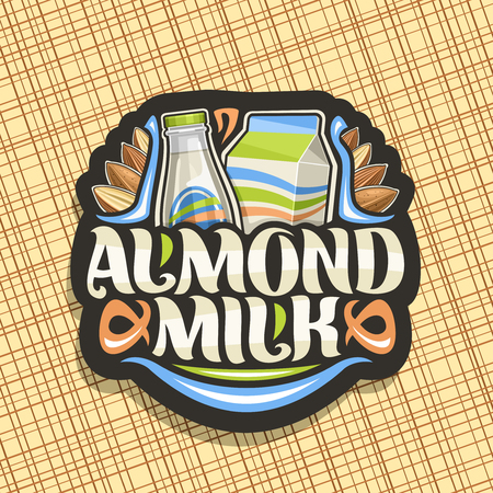 Vector logo for Almond Milk, black icon with illustration of full bottle and cardboard box of diet milk, whole and half dried nuts, lettering for words almond milk, signboard for vegan grocery store. Logo