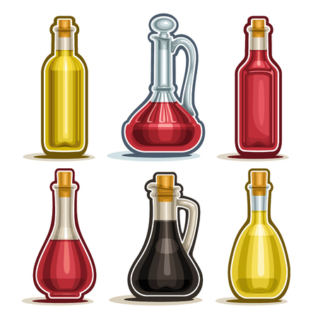 Vector set of isolated Bottles, 6 cut out outline containers with gourmet vinegar, healthy apple cider, decanter with handle, bottle of red wine with wooden cork and fresh balsamic vinegar on white.