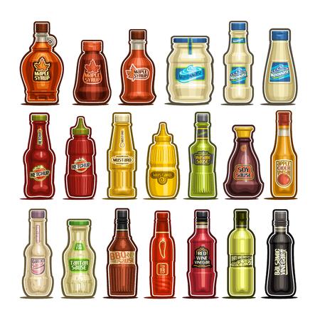 Vector conjunto de botellas aisladas, 20 contenedores de contorno recortado con producto de salsas gourmet, jarabe de arce saludable, mayonesa de huevo, salsa de tomate deliciosa, mostaza de dijon, sidra de manzana y vinagre de vino blanco. Ilustración de vector