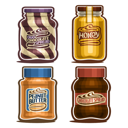 Vector set of isolated Jars, 4 cut out outline containers with sweet organic product, swirl dairy and choco paste for kids, healthy golden honey with lid, peanut butter and chocolate spread on white.  イラスト・ベクター素材