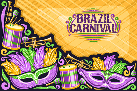 Vector greeting card for Brazil Carnival with copy space, illustration of purple mask, drums with drumsticks, template for carnaval in Rio de Janeiro, lettering for words brazil carnival on yellow.