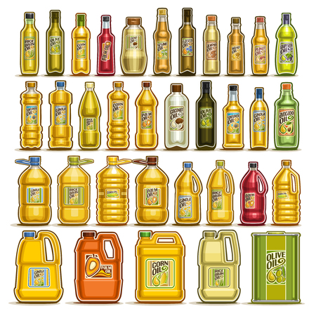 Vector set of Cooking Oil in Bottles, 34 cut out illustration of containers with refined oily product with label, glass jar with yellow virgin cholesterol liquid, can and jerrycan with extra maize oil Vectores