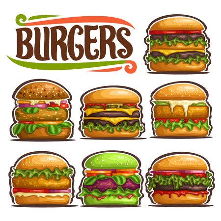 Vector set of fresh Burgers, 7 cut out illustrations of gourmet different hamburgers with various bread and cutlets, collection of classic yummy burgers with salad and tasty sauces for fastfod cafe.