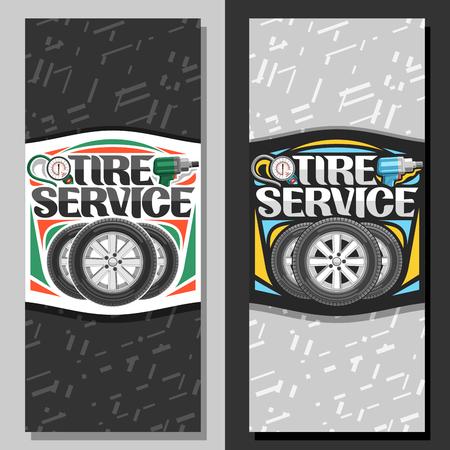 Bannières vectorielles pour le service des pneus, dépliant avec 3 pneus sur disques en alliage, illustration d'un manomètre pneumatique professionnel et d'une clé à chocs pneumatique, invitation avec lettrage original pour les mots service de pneus.