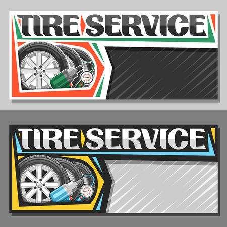 Vector banners for Tire Service with copy space, leaflet with 3 tires on alloy discs, illustration of professional pneumatic manometer and air impact wrench, original lettering for words tire service.