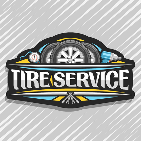 Vector logo for Tire Service, black signboard with 3 tires on alloy discs, illustration of professional pneumatic manometer and air impact wrench, sign with original lettering for words tire service. Illustration