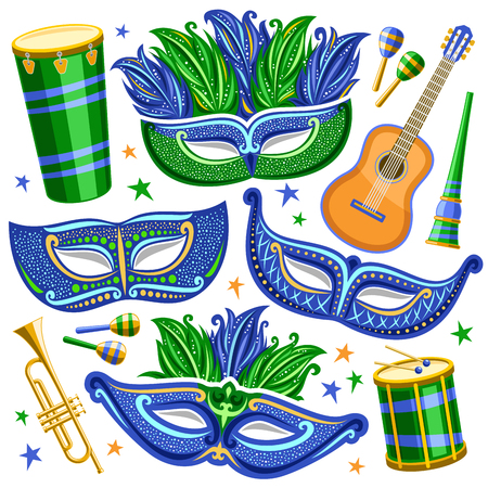 Vector set for Brazil Carnival, cut out illustrations of objects for carnival in Rio de Janeiro, drum with drumsticks, elegant venetian masks, music trumpet, vuvuzela and maracas on white background.