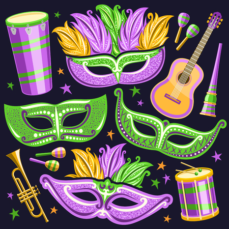 Vector set for Brazil Carnival, cut out illustrations of objects for carnival in Rio de Janeiro, drum with drumsticks, elegant venetian masks, music trumpet, vuvuzela and maracas on stars background. Çizim