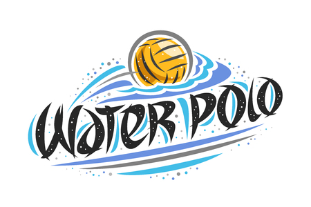 Vector logo for Water Polo, creative outline illustration of throwing ball in goal, original decorative brush typeface for words water polo, simple cartoon sports banner with lines and dots on white.