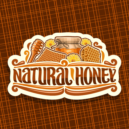 Vector logo for Natural Honey, white vintage label with beeswax honeycomb, glass jar with honey covered paper cap tied twine in a bow, sign for package with original lettering for words natural honey. Illustration