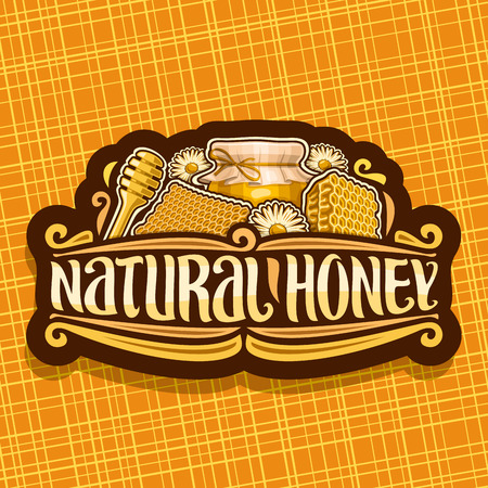 Vector logo for Natural Honey, dark vintage label with beeswax honeycomb, glass jar with honey covered paper cap tied twine in a bow, sign for package with original lettering for words natural honey.