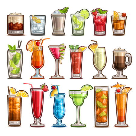 Vector set of tropical Cocktails, 18 cut out classic cocktails with design garnish: white russian, bloody mary or caesar sunday with lemon, sweet pina colada, cold cuba libre with cola for bar menu. Illustration