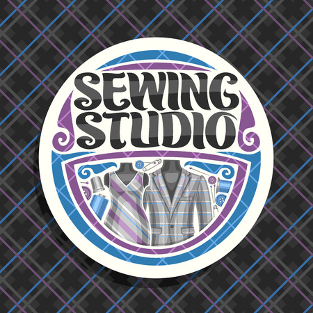 Vector logo for Sewing Studio, white round signboard with flourishes, sewing tools, elegant mens blazer and female dress on dummy, brush lettering for words sewing studio on checkered background.