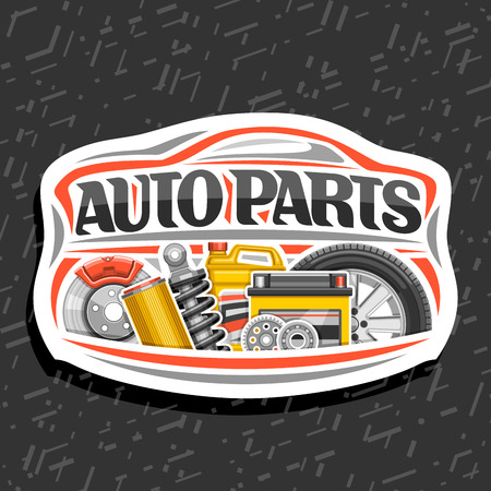 Vector logo for Auto Parts store, white decorative signboard with red car shape, lettering for words auto parts, illustrations of brake system, air filter, bottle of motor oil on abstract background.