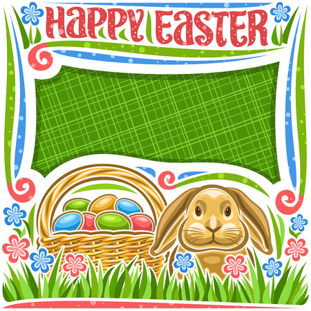 Vector poster for Easter holiday with copy space, white frame with blue and pink wildflowers, head of rabbit with funny ears, rustic pottle with heap of colorful eggs, lettering for words happy easter