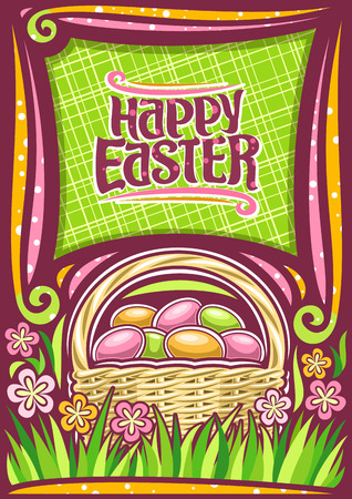 Vector poster for Easter holiday with copy space, dark frame with yellow & pink wildflowers, rustic pottle with pile of colorful eggs on grass, lettering for words happy easter on abstract background.