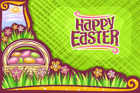 Vector greeting card for Easter holiday with copy space, dark banner with yellow & pink wildflowers, rustic pottle with pile of colorful eggs, lettering for words happy easter, sun on morning sky.