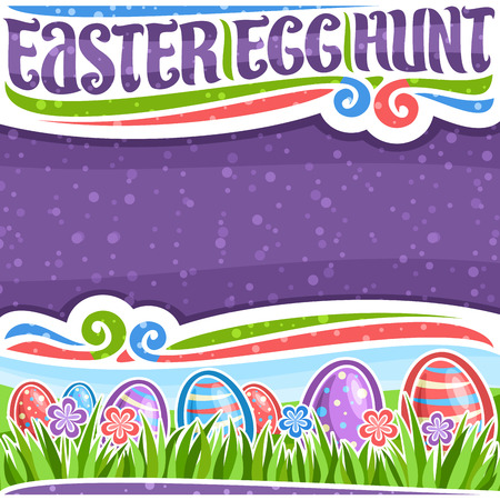 Vector poster for Easter Egg Hunt with copy space, white frame with blue and red wildflowers, colorful eggs with pattern on grass, headline with lettering for words easter egg hunt with flourishes.
