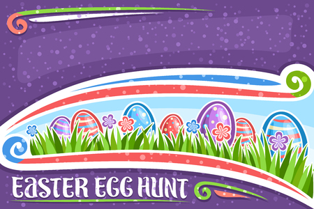 Vector greeting card for Easter Egg Hunt with copy space, white layout with blue and red wildflowers, colorful eggs with pattern on grass, lettering for words easter egg hunt on purple background.