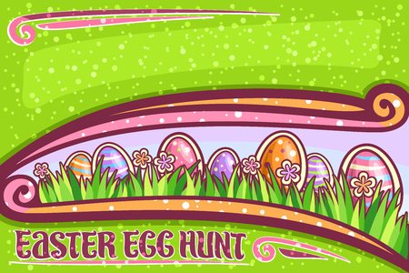 Vector greeting card for Easter Egg Hunt with copy space, dark invitation with orange and pink wildflowers, colorful eggs with pattern on grass, lettering for words easter egg hunt on green background