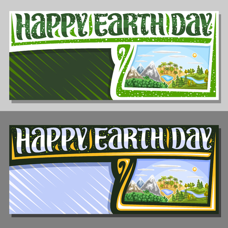 Vector banners for Earth Day with copy space, coupon with illustration of 3 hills with mountains land, oasis with lake, forest with river and sun on blue sky, brush typeface for words happy earth day.
