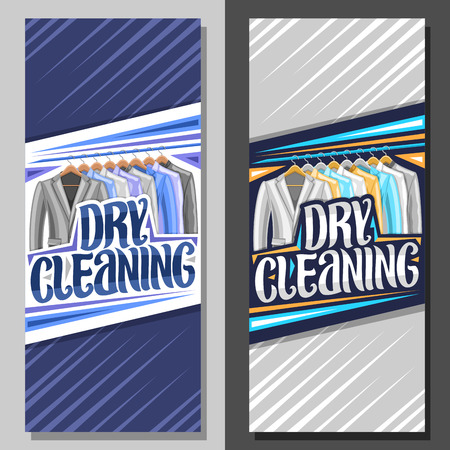 Vector banners for Dry Cleaning, blue leaflet with illustration of modern blazers and colorful shirts hanging on hanger, original brush lettering for words dry cleaning on gray abstract background. Illustration