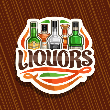 Vector logo for Liquors, white decorative sign board for department in hypermarket with 5 variety bottles of hard alcohol or distilled drinks, original brush lettering for text liquors and flourishes. Illusztráció