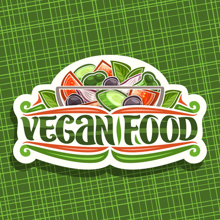 Vector logo for Vegan Food, cut paper vintage signboard with juicy salad in glass transparent bowl, brush lettering for words vegan food, cooked salad of various raw ingredients on green background.