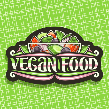 Vector logo for Vegan Food, black vintage sign board with juicy salad in glass transparent bowl, brush lettering for words vegan food, cooked salad of different mixed ingredients on green background.