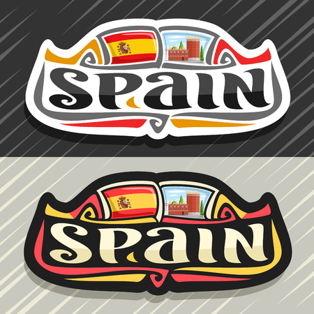 Vector logo for Spain country, fridge magnet with spanish flag, original brush typeface for word spain, spanish symbol - museum and theatre of Salvador Dali in Figueras on blue cloudy sky background. Stok Fotoğraf - 121502474