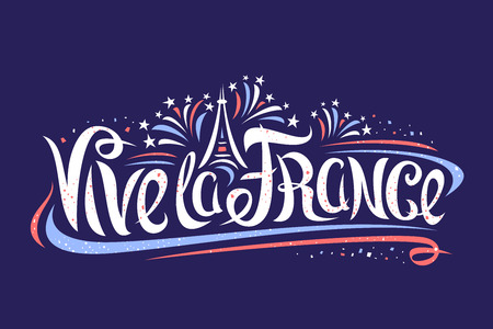 Vector french motto for Bastille Day - Vive la France, banner with simple cartoon Eiffel tower, original lettering for words vive la france, decorative curly flourishes and confetti on dark background