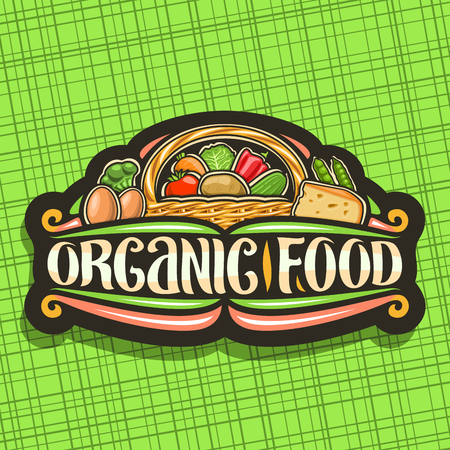 Vector logo for Organic Food, dark sign board with set of heap variety cartoon veggies, decorative lettering for words organic food, autumn sustainable mix in full rustic pottle on green background.
