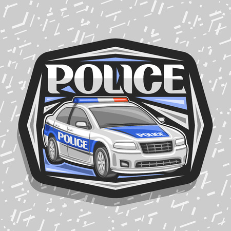 Vector logo for Police Car, black decorative sign with illustration of modern sedan of municipal road department, original lettering for word police, design tag for street cops on gray background. Illustration