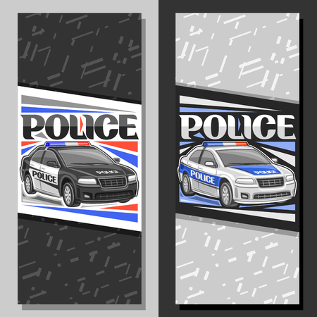 Vektorbanner für Polizeiauto, Layouts mit Illustration der modernen Limousine der städtischen Straßenbehörde, dekorative Beschriftung für Wortpolizei, Broschüren mit Kopienraum auf grauem abstraktem Hintergrund.